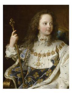 Portrait de Louis XV, âgé de cinq ans (1710-1774), assis sur son trône en grand…