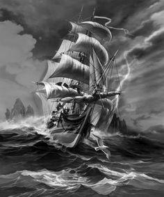 Refuge of the Wild 2 Pirate Ship Tattoos, Pirate Tattoo, Ship Tattoo Sleeves, Sleeve Tattoos, Tattoo Barco, Nautical Tattoo Sleeve, Poseidon Tattoo, Old Sailing Ships, Sea Tattoo