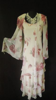 CATTIVA (NEW YORK) Pink & Green Floaty, Layered Dress and Jacket with bead decoration, size UK14, suitable for Mature Bride, Mother of the Bride/Groom, Wedding Guest, Races or any Special Occasion