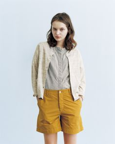 masculine, shorts, spring, cardigan, yellow, light, collarless stripe shirt, buttoned up repin