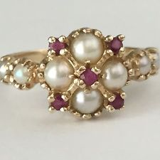 14kt gold ring Ruby Pearl red white yellow gold size 8, yellow gold 585