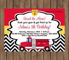 Firetruck Birthday Invitation / Chevron / PRINTABLE / Any Color / Firefighter birthday invitation