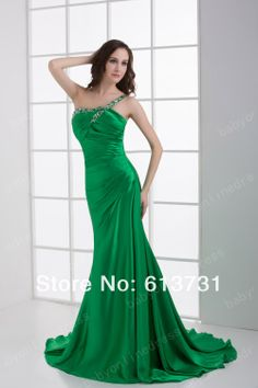 Custom Made 2013 New Sexy Long Green Evening Dresses Beading Wedding Guest Dresses 9581