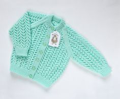 Mint Green Cardigan. Hand Knit Cardigan. Hand by ACrookedSixpence