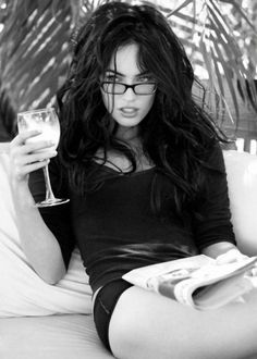 Actress,Beautiful,Brunette,Clothes,Drink,Fashion,Megan,Pretty,Hair,Glass,