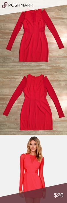 Red Lush Mesh Cutout Dress Lush brand, purchased from Lulu's and only worn once! In excellent, like-new condition! This sassy red dress is super flirty and figure-flattering. Size small. Lush Dresses Mini