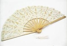 Ivory Vintage French Lace Parasol Hand Fan Photogragh Event Wedding Party Shiny
