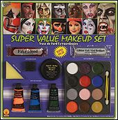 """""""This kit comes with a 1oz makeup tray, 11g of cream makeup in white black and green, .25oz of fake blood and .25oz of glitter gel. This kit comes with instructions."""" Everything you need to have a professional make up job at home."""