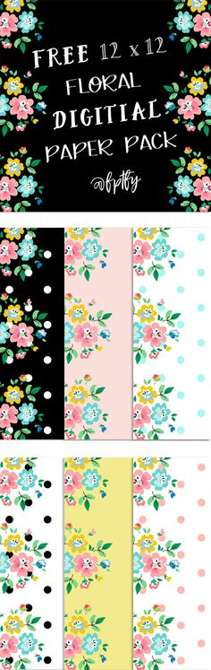 Free Scrapbooking Paper: Floral Delight! Create Pretty Planner Covers and Dividers with these pretties!