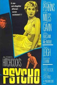 Filme: Psycho (Psicose, 1960). Direção: Alfred Hitchcock. Elenco: Anthony Perkins, Janet Leigh, Vera Miles.