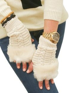Fingerless Gloves With Fur - Ivory