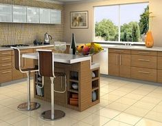 In a contemporary kitchen decor, only a contemporary kitchen island will fit perfectly. You can also convert your island into contemporary kitchen island through creating it as a mini-barby storing the bottle of wines and spirits. Portable Kitchen Island, Kitchen Island Table, White Kitchen Island, Small Kitchen Storage, Kitchen Island With Seating, Kitchen Islands, Kitchen Small, Tan Kitchen, Rooster Kitchen