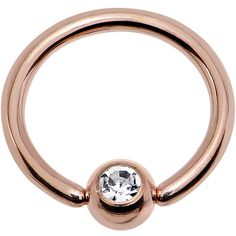"16 Gauge 5/16"" Clear Gem 3mm Ball Rose Gold IP Steel BCR Captive Ring"