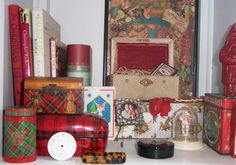 """Yet another cubby vignette of my stuff I use or just like to look at....I made the """"tartanware"""" boxes stacked to the left. First attempt---no kidding---the one closest to the left started it's life as a toilet paper roll.then I smushed it, made it oval and went to town! a close up of it can be found in my tartanware board....soon"""