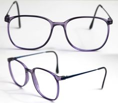 5942c685b851 cherryREVOLVER Vintage Marcolin CAMPUS Eye Glasses Men or Women Unisex  Purple Translucent with Dark Navy Metal Arms Frame ITALY Rx
