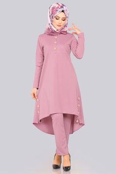 Modaselvim 69 TL Button Detail Combination with Slits Powder - Kadın giyim Women's Dresses, Stylish Dresses, Simple Dresses, Abaya Fashion, Fashion Dresses, Winter Rock, Hijab Style Dress, Muslim Women Fashion, Sleeves Designs For Dresses
