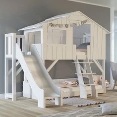 Bunk beds as a room divider, modern wall with built-in bunk beds - dormitoryBunk beds as a room divider, modern wall with built-in bunk beds, beds dividersMathy By Bols Tree House Bunk Bed with Slide Bunk Bed Designs, Girl Bedroom Designs, Bed For Girls Room, Girl Room, Baby Room, Tree House Bunk Bed, Bunk Bed With Slide, Kids Bed With Slide, Kids Bunk Beds