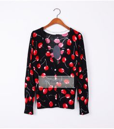 TimAdc cherry print cardigan cherry sweater Casual by TimAdc, $23.99