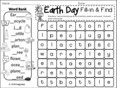 Earth Day Fill-in-and-Find Wordsearch Puzzle FREEBIE phonics, literacy