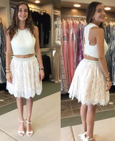 white lace homecoming dress with pearls, 2017 short homecoming dress, party dress, fall fashion