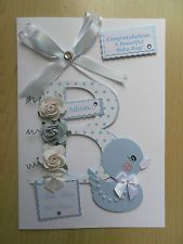 Luxury Hand-Made New Baby Boy Card-Can be Personalised