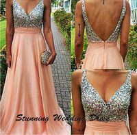 Free shipping Sexy V- Neck Evening dress Crystals pink Evenin...