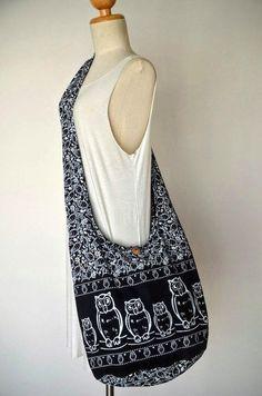 Owl Bag Hippie Hobo Bag Sling Crossbody Bag Boho Bag by Dollypun Eco Bags, Boho Crossbody Bag, Vogue, Hippie Bags, Cotton Bag, Hobo Bag, Black Cotton, Purses And Bags, Reusable Tote Bags