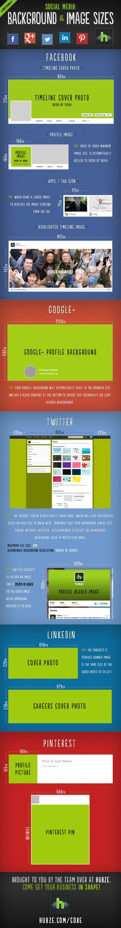 Thanks to Hubze for posting this infographic. Very helpfull! Hubze Infographic on Social platform images sizes