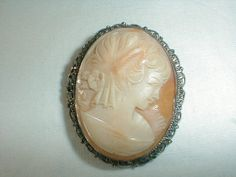 800 silver marked shell cameo brooch by qualityvintagejewels, $68.00