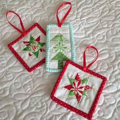 "Mini, mini quilts. Great ornaments! Must make ""mini"" of these!"