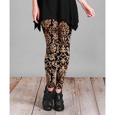 Lily Brown & Black Damask Leggings ($13) ❤ liked on Polyvore featuring plus size women's fashion, plus size clothing, plus size pants, plus size leggings, plus size, slim pants, print stretch pants, slim fit trousers, plus size stretch pants and print pants