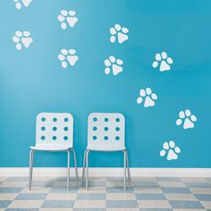 This Dog Paw Prints Wall Decal will look great in a kids room or near the dog bed area!