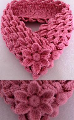Free crochet leaf braids scarf