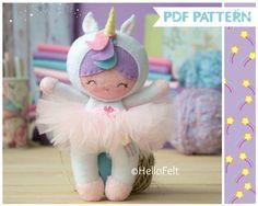 Felt pattern, Little Unicorn Girl, Doll Pattern, Pattern, Soft felt Toy Pattern. Plush Pattern.