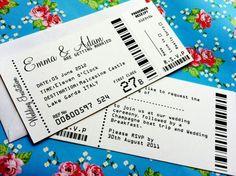 Alternative wedding stationery ideas cinema tickets save the date! LOVE.