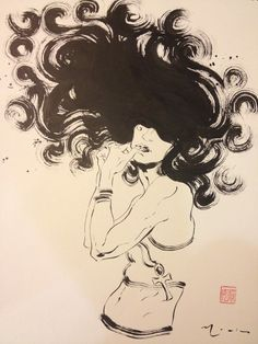 David Mack-  For the Sandman 25 yr Art Gallery Exhibit. Opening Nov 23. Death. Brush & ink.