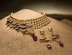 Designer Gold Beaded Choker Set, Latest Gold Beaded Choker Necklace Set.