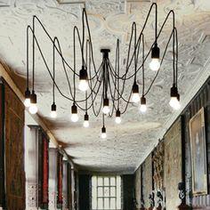 Suspension lustre métal silicone noir 14 ampoules Maman Seletti