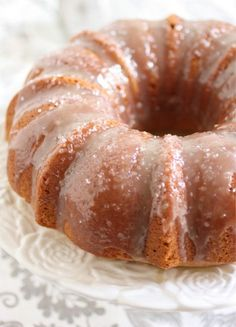 Salted Caramel Bundt Cake 3 cups all-purpose flour 1 1/4 cup granulated sugar 1/2 teaspoon baking powder 1/2 teaspoon baking soda 1/2 teaspoon salt 3 tsp vanilla extract 1 cup Crème fraîche 2 sticks unsalted butter, softened 4 large eggs, room temperature Caramel Glaze 1 cup sugar 3/4 cup heavy cream 1/2 stick of butter Sea salt (I used fleur de sel)