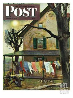 """Hanging Clothes Out to Dry,"" Saturday Evening Post Cover, April 7, 1945 Giclee Print by John Falter at Art.com"
