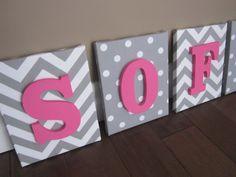 Wall Canvas Letters, Nursery Decor, Nursery Letters, Wooden Letters, Personalized, Nursery Art, grey chevron