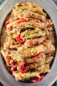 Vegetarian Stuffed Cabbage Rolls. Small cabbage rolls made Mediterranean style with rice, tomatoes, fresh herbs and spices. Includes step-by-step photos
