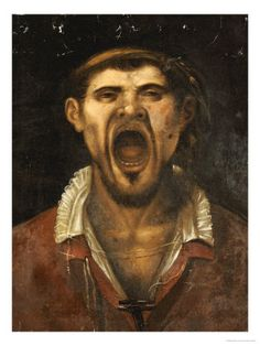 A Peasant Man, Head And Shoulders, Shouting by Agostino Carracci