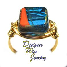 DWJ0577 Lovely Cabana Poolside Czech Art Glass Gold Wire Wrapped Ring All Sizes