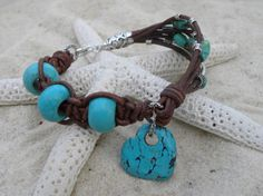 Sterling Silver Leather and Turquoise Braclet