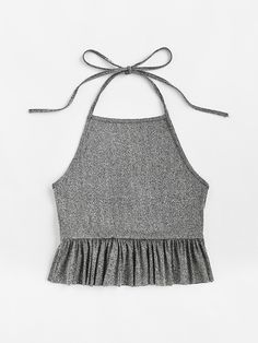To find out about the Frill Hem Glitter Halter Top at SHEIN, part of our latest Tank Tops & Camis ready to shop online today! Look Fashion, Teen Fashion, Fashion Outfits, Fashion Design, Trendy Outfits, Summer Outfits, Cute Outfits, Summer Dresses, Glitter Fashion