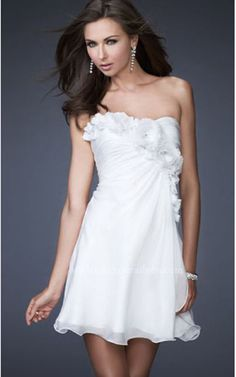 Strapless Short White Homecoming Dress by La Femme 16173
