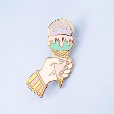 Little Arrow Purple & Mint Ice Cream Addict Pin Overcoming Addiction, Quirky Girl, Mint Ice Cream, Cool Pins, Purple Lilac, Pin And Patches, Hand Illustration, Lapel Pins, Anime Art