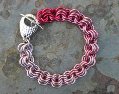 Breast Cancer Awareness Pink Gradient Chainmaille Bracelet
