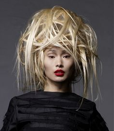 A long blonde straight coloured sculptured avant garde hairstyle by Steven Carey Creative Hairstyles, Unique Hairstyles, Wig Hairstyles, Straight Hairstyles, Haircuts, Hair Rainbow, Avant Garde Hair, Blond, Extreme Hair
